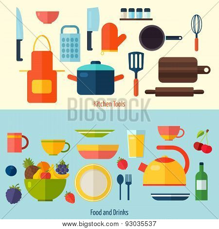 Flat kitchen and cooking background. C