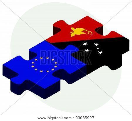 European Union And Papua New Guinea Flags
