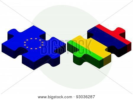 European Union And Mauritius Flags In Puzzle