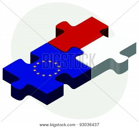 European Union And Monaco Flags In Puzzle