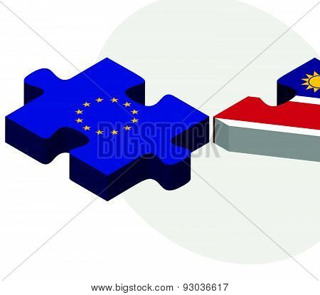 European Union And Nauru Flags In Puzzle