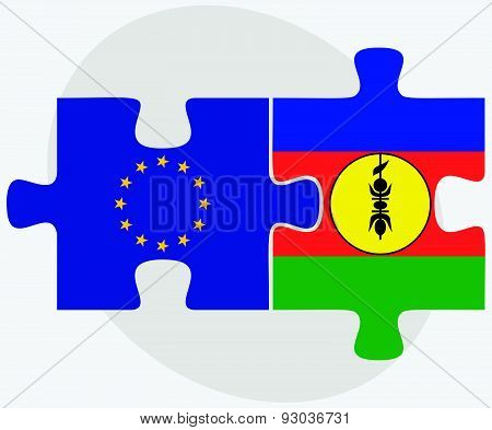 European Union And New Caledonia Flags In Puzzle