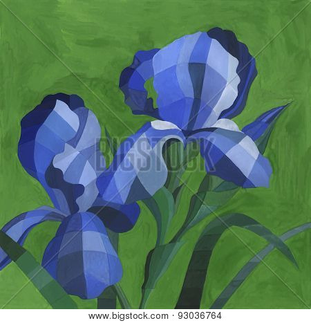 Vector Watercolor Blue Iris Flowers On Green Background. Colorful Decorative Hand Drawn Iris Backgro
