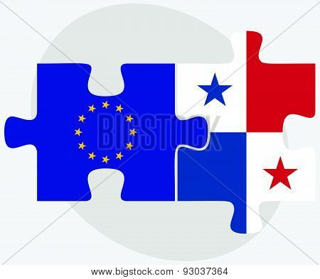 European Union And Panama Flags In Puzzle