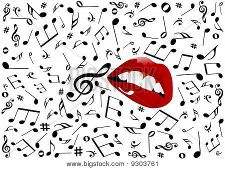 Illustration of red lips singing