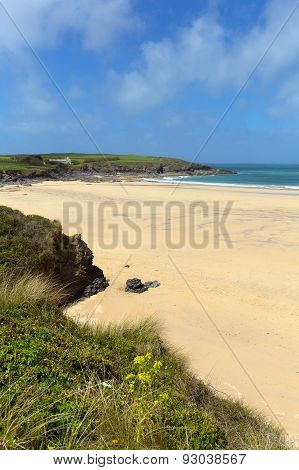 Sandy beach North Cornwall Harlyn Bay England UK near Padstow and Newquay