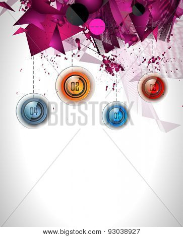Infographic template with 4 choices glass buttons with shiny effect. Ideal for marketing and printed material, product classifications, ranking, business solutions, item list and for ideas proposal.