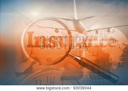 Graphic airplane against magnifying glass revealing the word insurance written in red