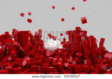 Field Of Red Cubes Destroyed By Large White Ball. 3D Render Image.