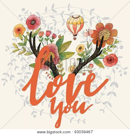 Love you - incredible deer horns with awesome flowers. Lovely spring concept design in vector. Sweet horns, poppy flowers, air balloon and insects made in watercolor technique