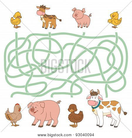 Maze Game (farm Animals - Cow, Pig, Chicken, Duck)