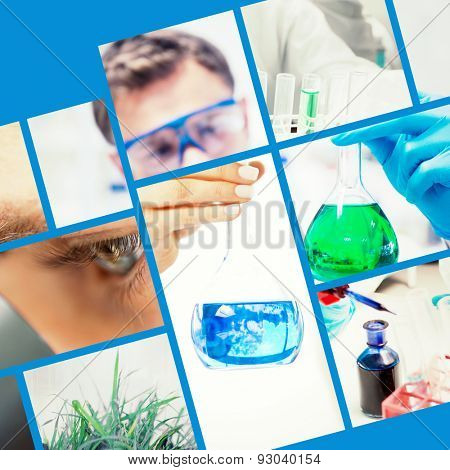 Close up of beautiful scientist looking at a flask against chemist holding up beaker of green chemical