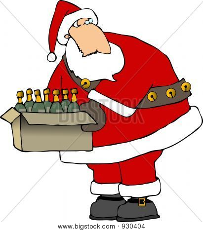 Santa With A Box Of Wine Bottles