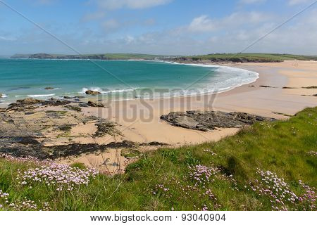 Cornish coastal view Harlyn Bay North Cornwall England UK near Padstow and Newquay