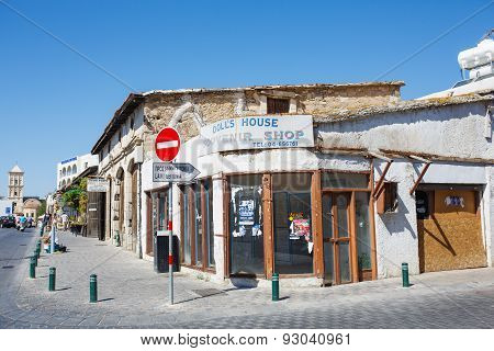 Closed souvenir shop. One of many deserted shops in Larnaca because of Economic crash in Cyprus.