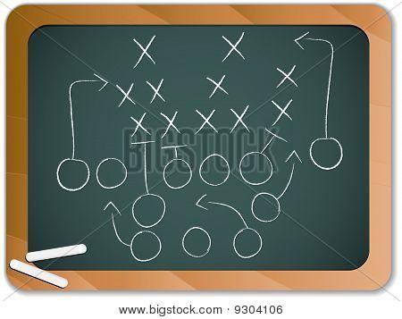 Trabalho em equipe estratégia de plano de jogo de futebol no quadro-negro