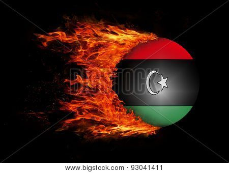 Flag With A Trail Of Fire - Libya