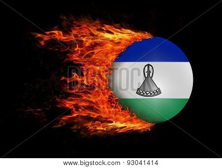 Flag With A Trail Of Fire - Lesotho
