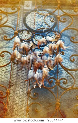 Dream Catcher And Ornamental  Window On Background. Vintage Picture
