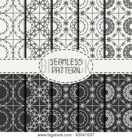 Set of geometric line lattice seamless arabic pattern. Islamic oriental style.