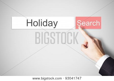 Finger Pushing Flat Web Search Button Holiday