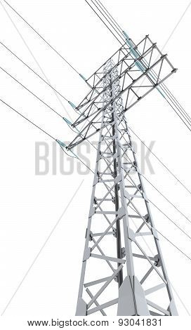 Power Transmission Tower Isolated On White