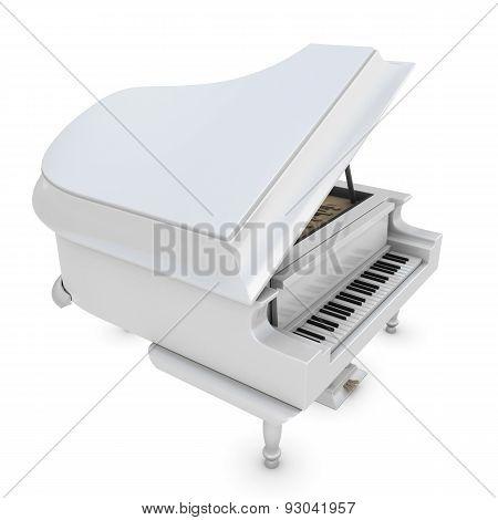 White Grand Piano On A White
