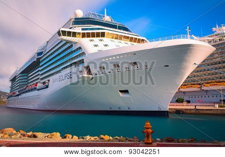 Luxury cruise ship is docked in the port of Saint Thomas