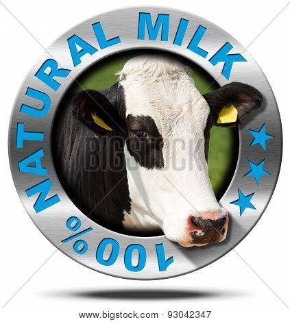 100 Percent Natural Milk- Metal Icon