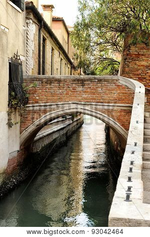 Foot Bridge Over Narrow Canal, Venice, Italy
