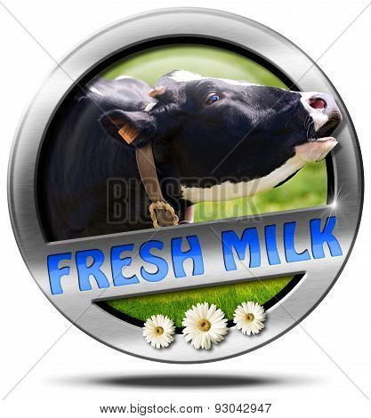 Fresh Milk - Metal Icon With Cow