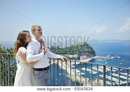 Beautiful Couple In Wedding Day In Naples, Italy
