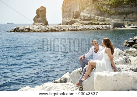 Happy Couple Near Sea In A Sunny Day, Naples, Italy