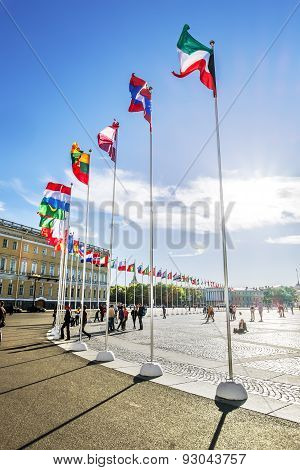 View Of Palace Square During The International Legal Forum In Saint Petersburg