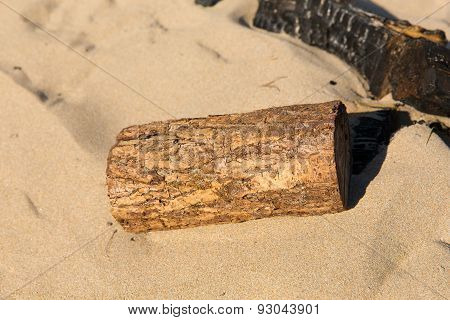 Small piece of sawn wood log in the sand on a beach next to burnt remains of campfire