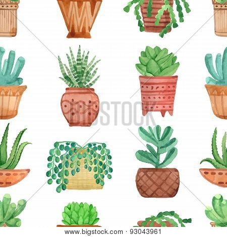 Watercolor seamless pattern with house plants in pots