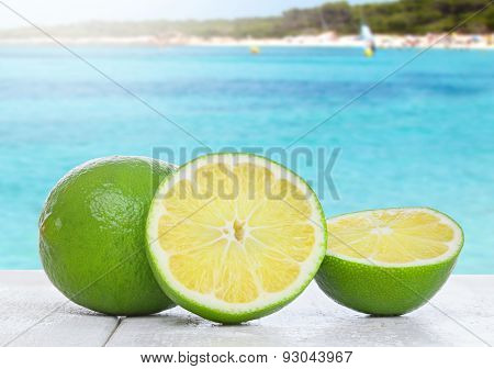 Lime On White Wood Table
