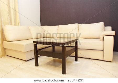 Modern Comfortable White Corner Leather Sofa And Coffee Table.