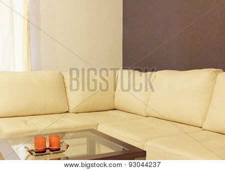 Comfortable White Leather Corner Sofa And Coffee Table Taken Clo