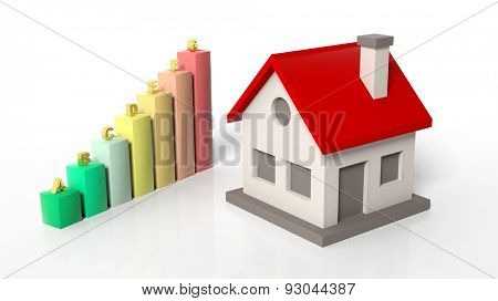 House model with chart bars  isolated on white background