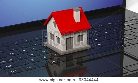 House model on black laptops keyboard