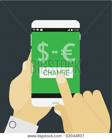 Hand selecting currency exchange on mobile device