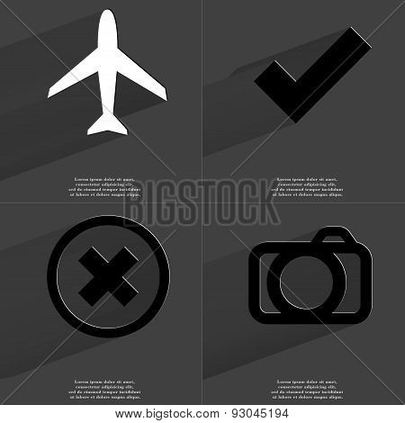Airplane, Tick, Stop Sign, Camera. Symbols With Long Shadow. Flat Design
