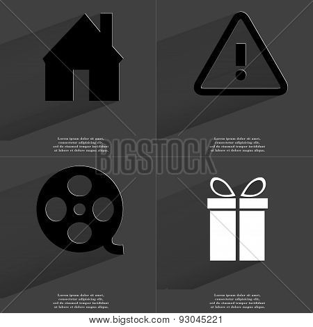 House, Warning Sign, Videotape, Gift. Symbols With Long Shadow. Flat Design