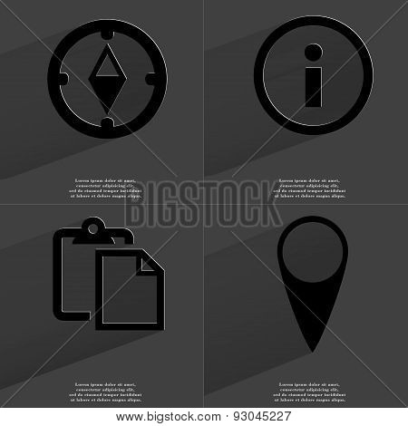 Compass, Information Sign, Tasklist, Checkpoint. Symbols With Long Shadow. Flat Design