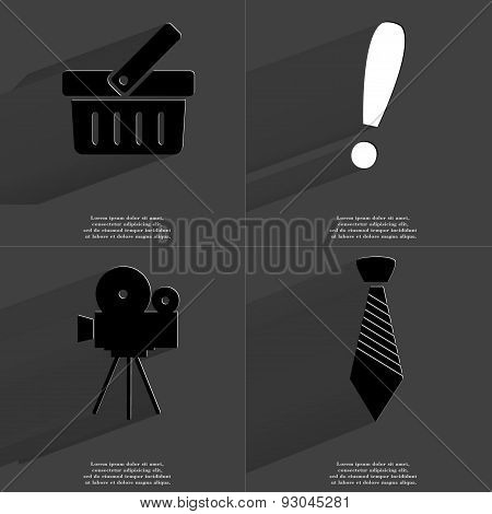 Basket, Exclamation Mark, Film Camera, Tie. Symbols With Long Shadow. Flat Design