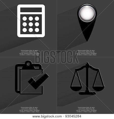 Calculator, Checkpoint, Task Completed Icon, Scales. Symbols With Long Shadow. Flat Design