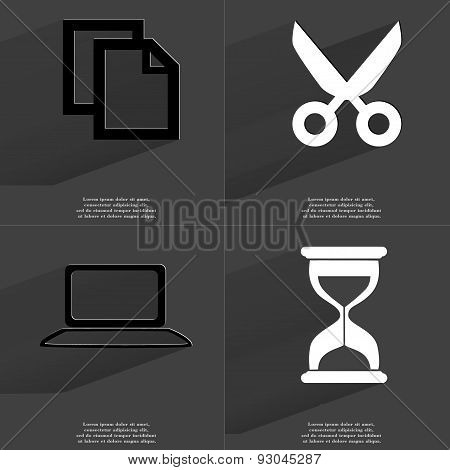 Copy Icon, Scissors, Laptop, Hourglass. Symbols With Long Shadow. Flat Design