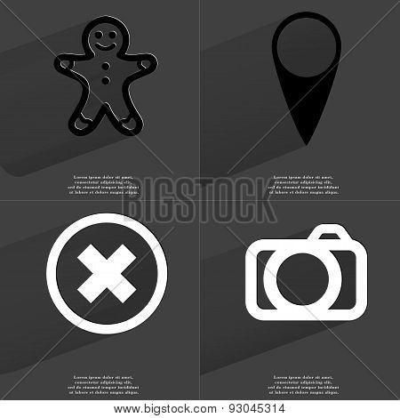 Gingerbread Man, Checkpoint, Stop Sign, Camera. Symbols With Long Shadow. Flat Design