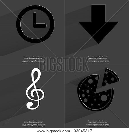 Clock, Arrow Directed Down, Clef, Pizza. Symbols With Long Shadow. Flat Design